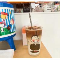 ins风网红史努比查理随手杯韩国果汁杯子卡通玻璃杯水杯送吸管